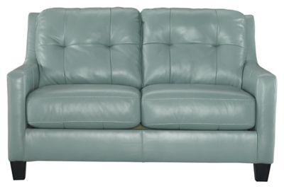 Best O Kean Loveseat By Ashley Homestore Blue Leather 100 400 x 300