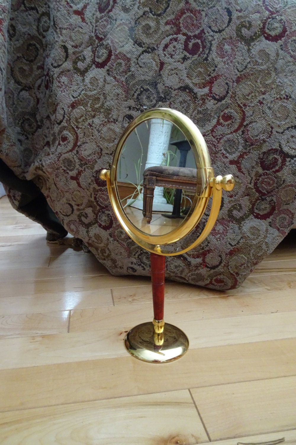 Vintage Standing Gold Tone Tilting Double Make Up Mirror