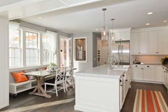 offene küche kücheninsel holz esszimmer mit bank rollen stauraum - esszimmer modern mit bank