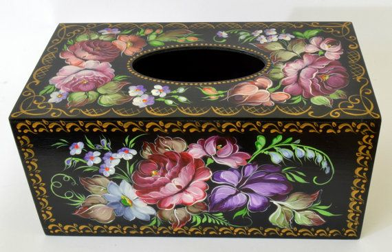 Hand Painted Tissue Box Cover - Russian Zhostovo Style
