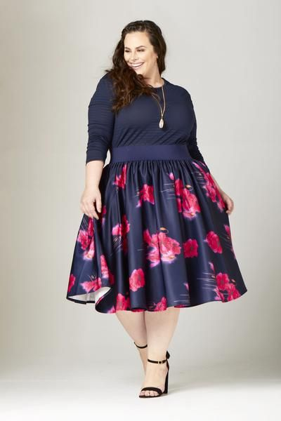 c1d77faad1 Plus Size Clothing for Women - Soiree Midi Skirt - Navy/Pink Floral -  Society+ - Society Plus