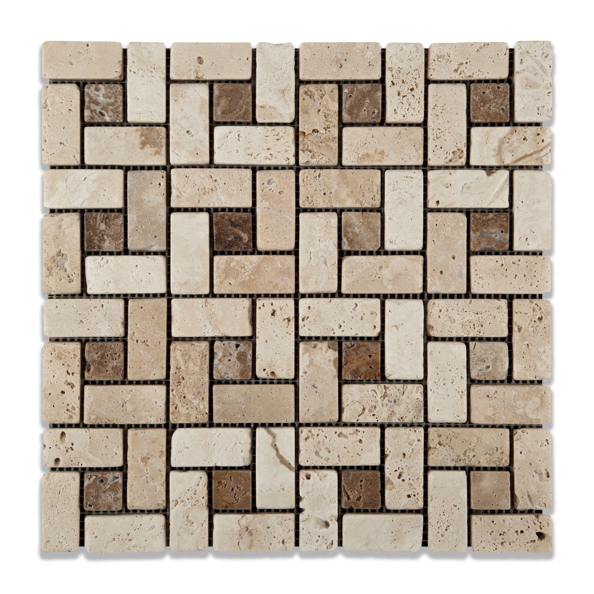 ivory travertine tumbled large pinwheel mosaic tile w