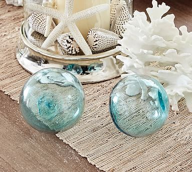 Recycled Glass Balls, Set of 3, Blue/Green/Clear