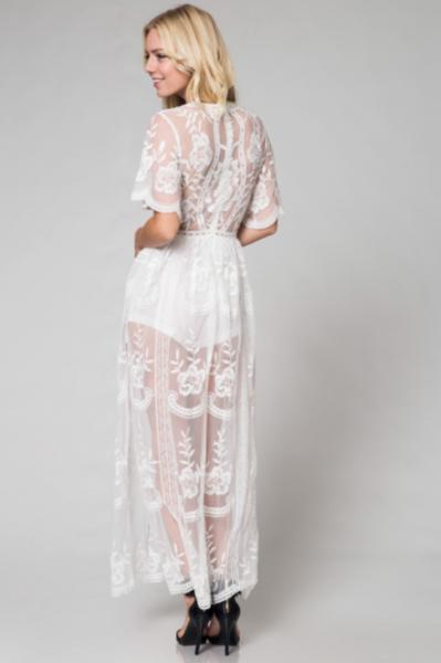 75cf9bee314 Preorder - Bardot Lace Maxi Romper - White