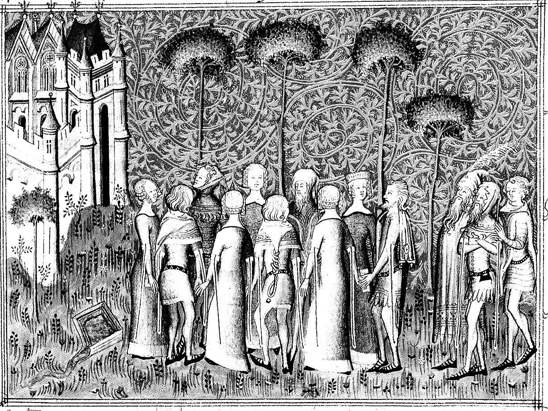 Peinture médiévale mise en noir et blanc et dont le contraste a été accentué pour devenir un coloriage adulte sur le th¨me du Moyen ¢ge