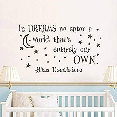 harry potter wall decal quote- in dreams we enter a world that's