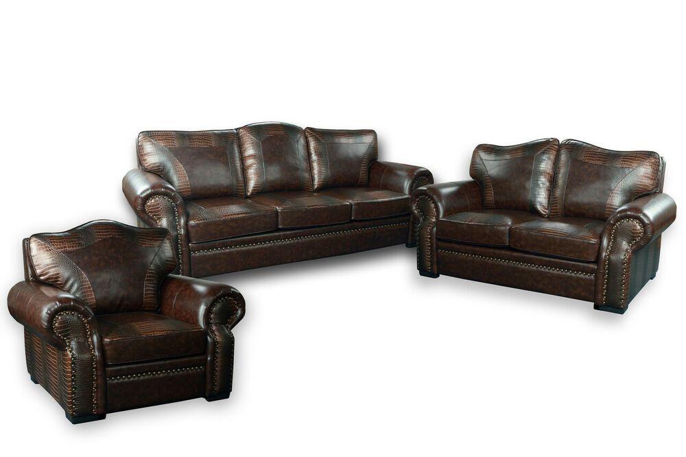 Botswana Croco And Leather Sofa Set Of