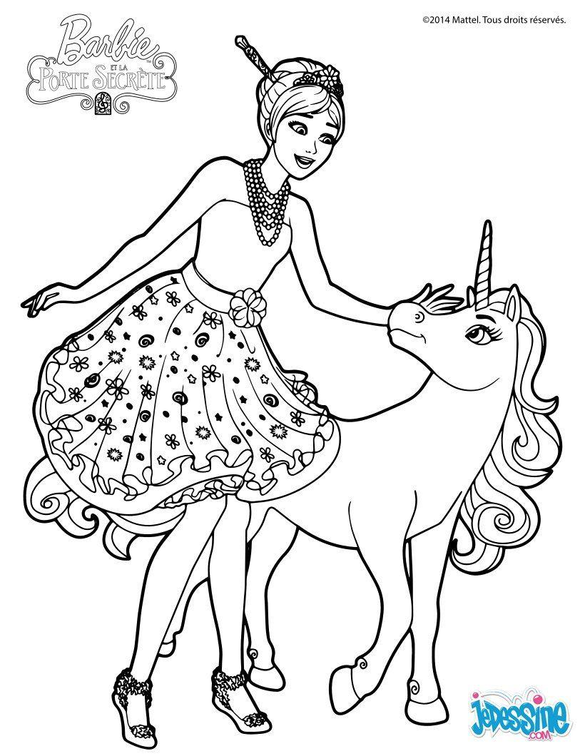 Un coloriage de Barbie et la porte secret Barbie caline sa belle licorne €
