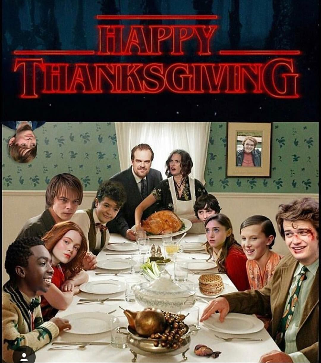 "Noah Schnapp on Instagram: ""Happy Thanksgiving all! Thanks @stranger.obsessed for this funny edit. FYI I'm back from the upside down in season 2, I could get a seat at…"""
