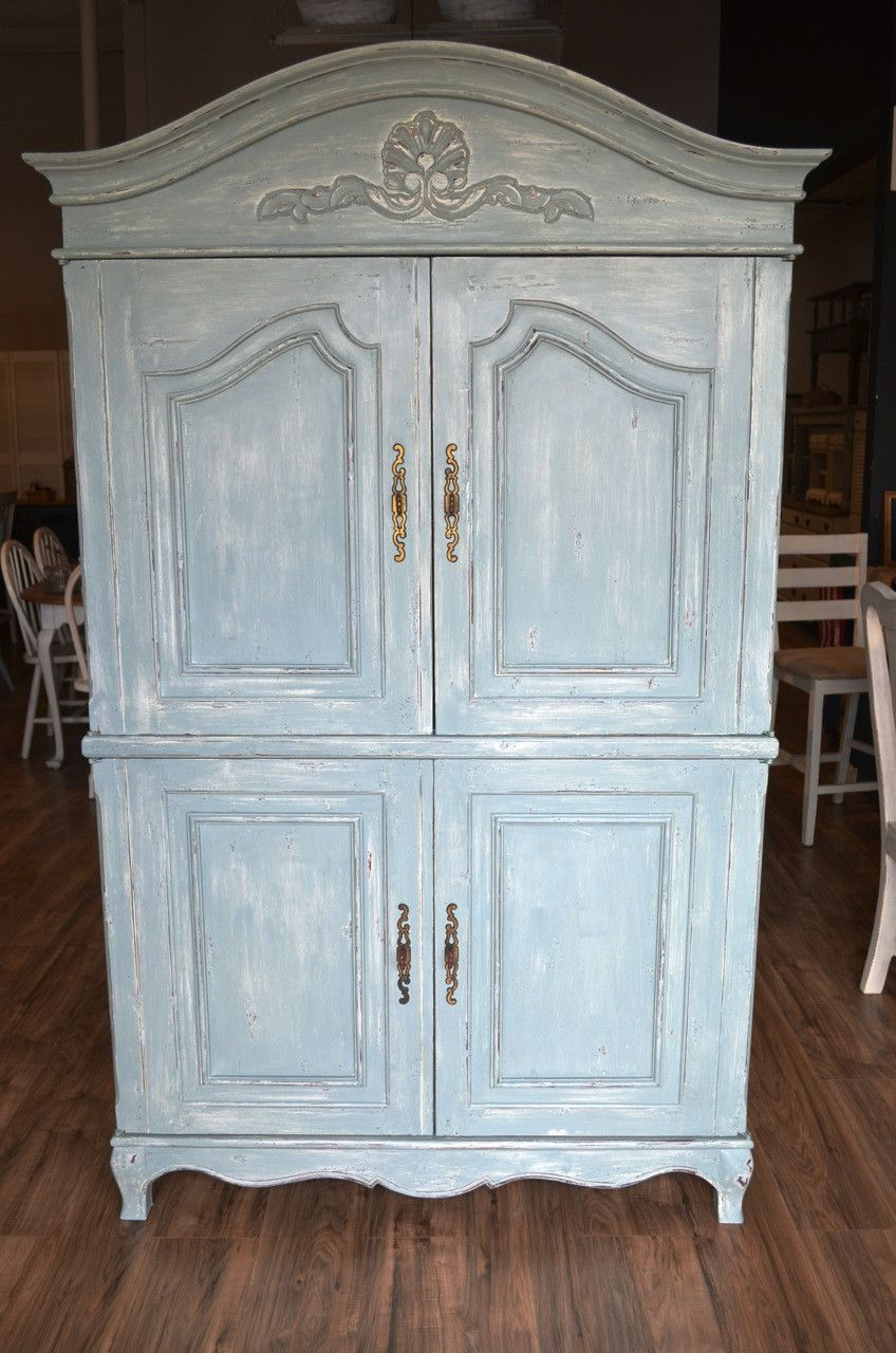 Shabby Chic Light Blue Armoire Solid Wood Great Beachy