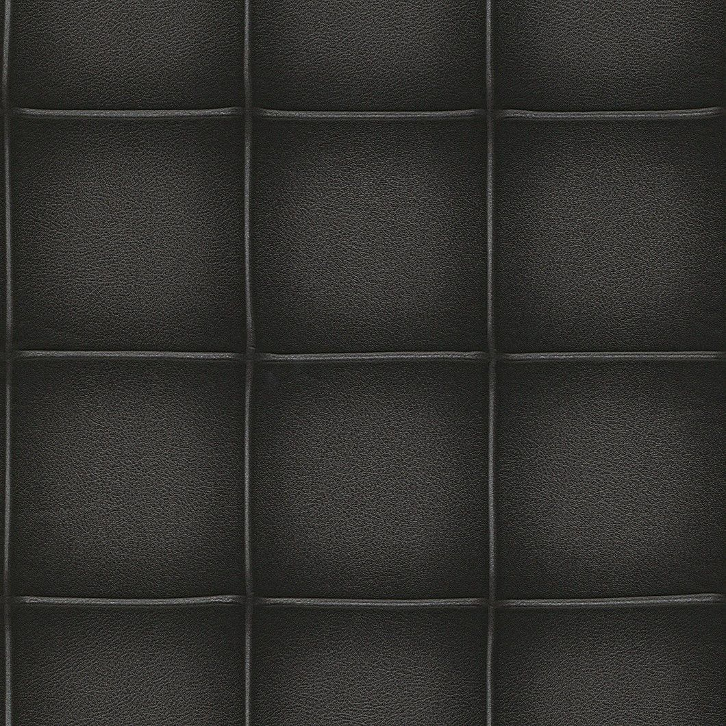 Elegant Faux Leather Wallpaper in Black by BD Wall