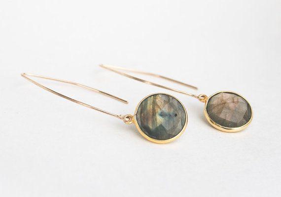 Gold labradorite gemstone earrings by JudysDesigns on Etsy #jewelry