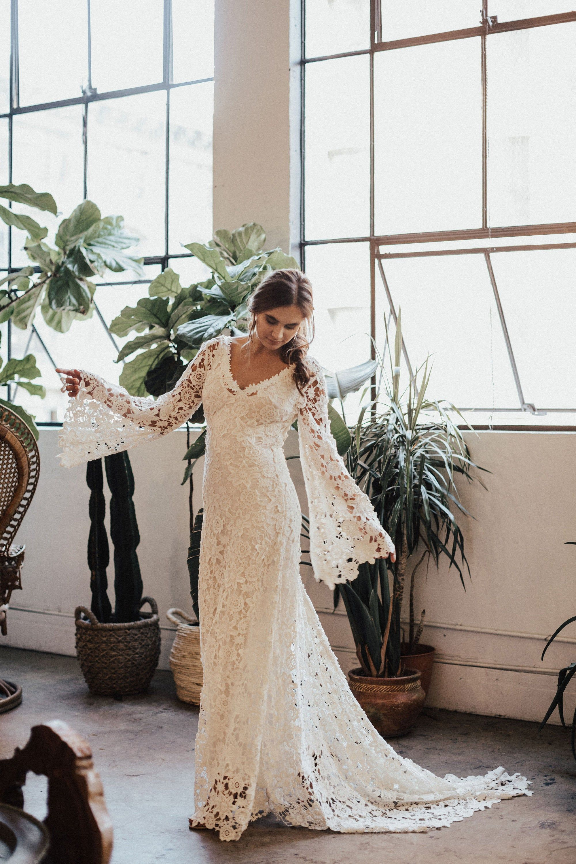 Arabelle BOHO WEDDING DRESS| Bell Sleeve Lace Bohemian Wedding Dress with Train| Lace Wedding Dress | Hippie Wedding Dress | size 0-18