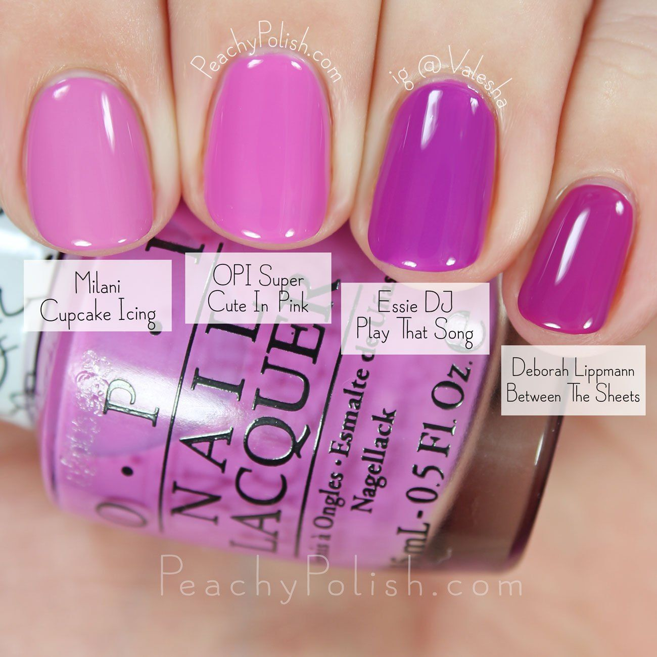 OPI Super Cute In Pink Comparison
