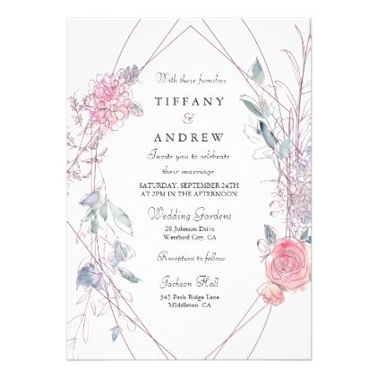 Modern pink floral wreath geometric wedding card geometric wedding modern pink floral wreath geometric wedding card geometric wedding wedding card and wedding invitation cards stopboris Choice Image