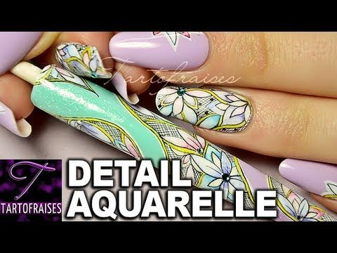 Nail Art Aquarelle Fleur Fushia Watercolor Flower Youtube