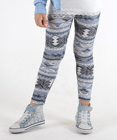 e3cd2a268829e This Light Blue & Navy Tribal Brushed Leggings - Girls by Dinamit Jeans is  perfect! #zulilyfinds