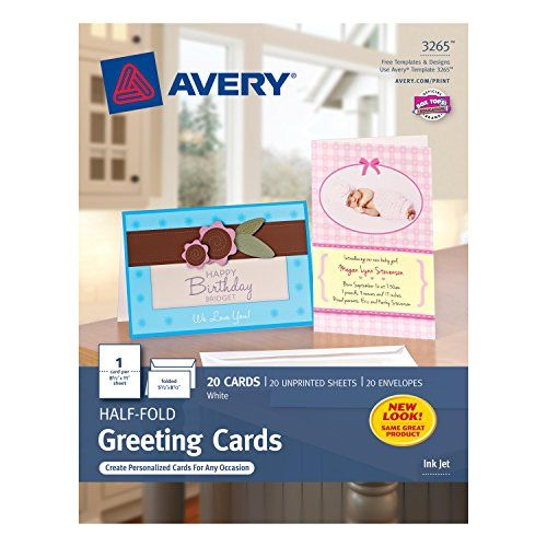 Avery Halffold Greeting Cards For Inkjet Printers 55 Inches X 85 Inches White Matte P Printable Greeting Cards Blank Cards And Envelopes Greeting Card Template