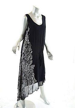 d2b0fd199f7 Black   White Pure Rayon Asym. Hem Tank W White Embroidery - L ...