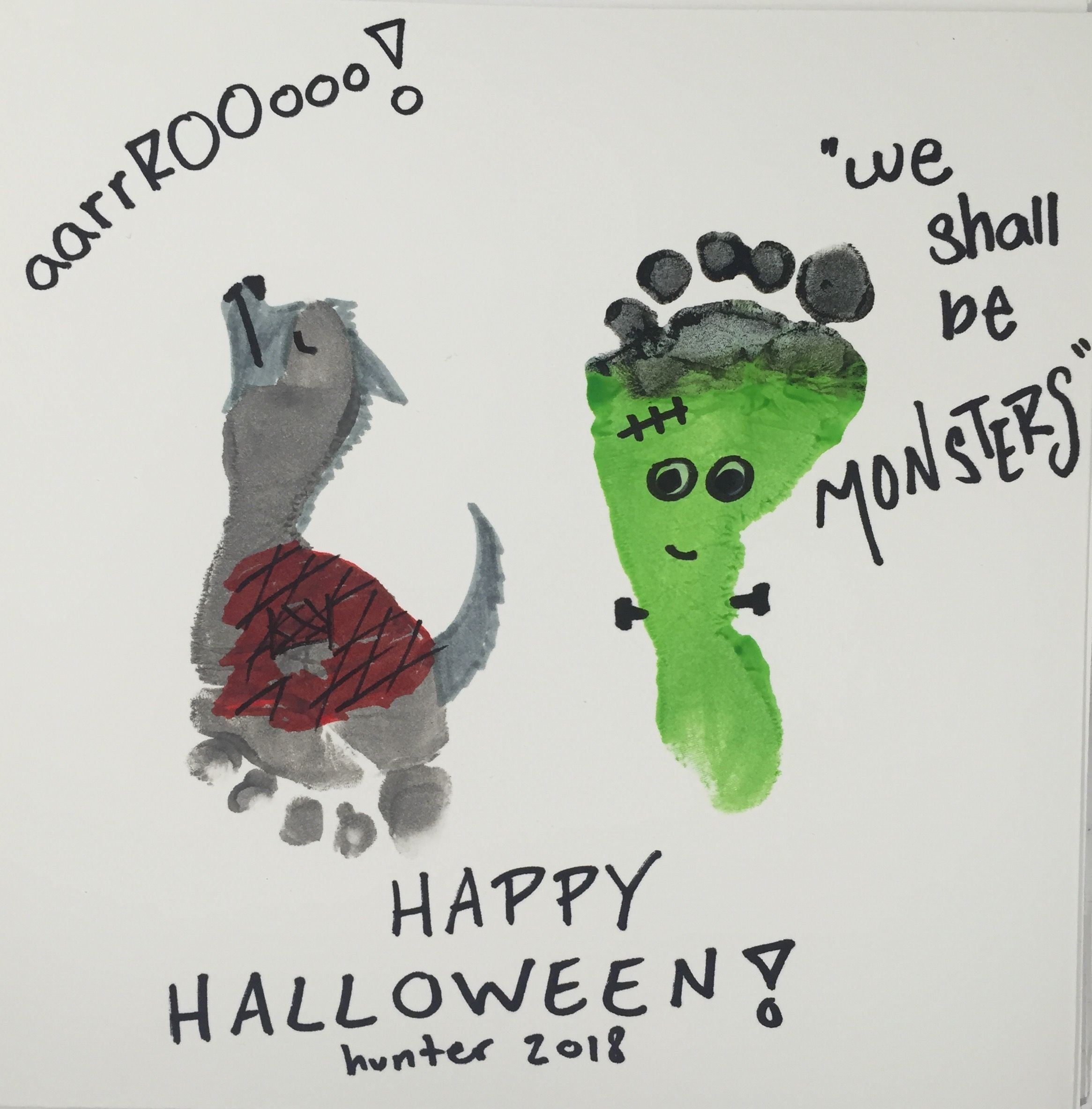 Werewolf Footprint Frankenstein Footprint Halloween Craft