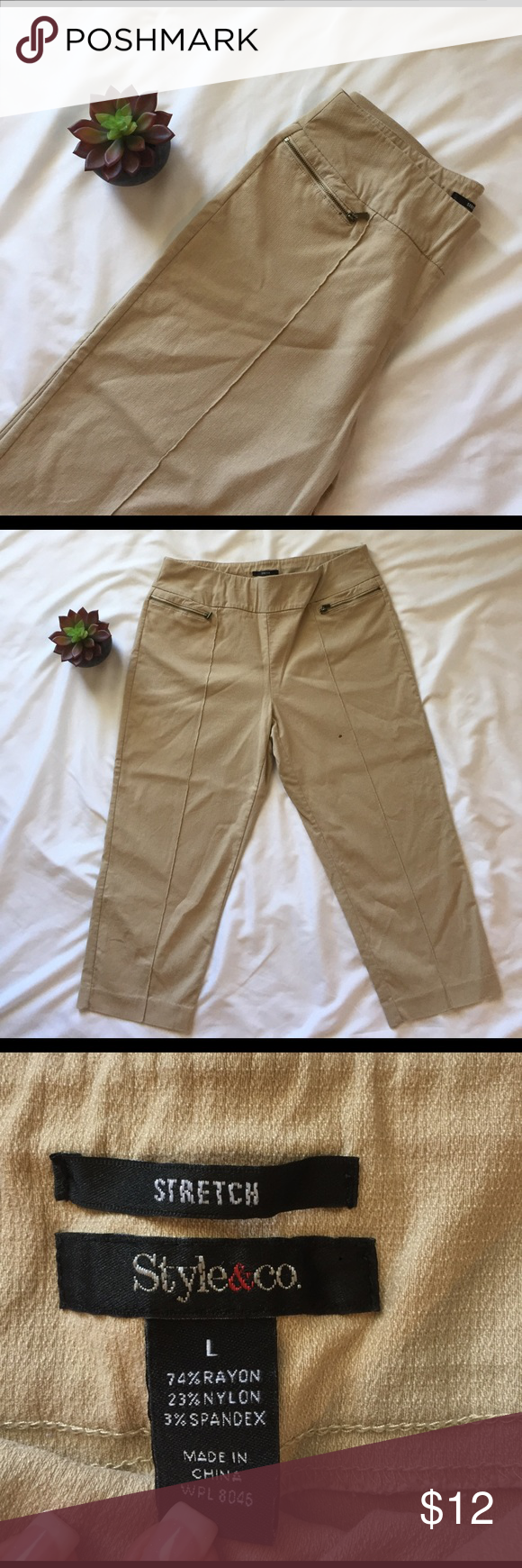 Style & Co Capri Excellent Condition!  21 inch inseam and has a lot of stretch to them with 3% Spandex. Very comfortable Style & Co Pants Capris