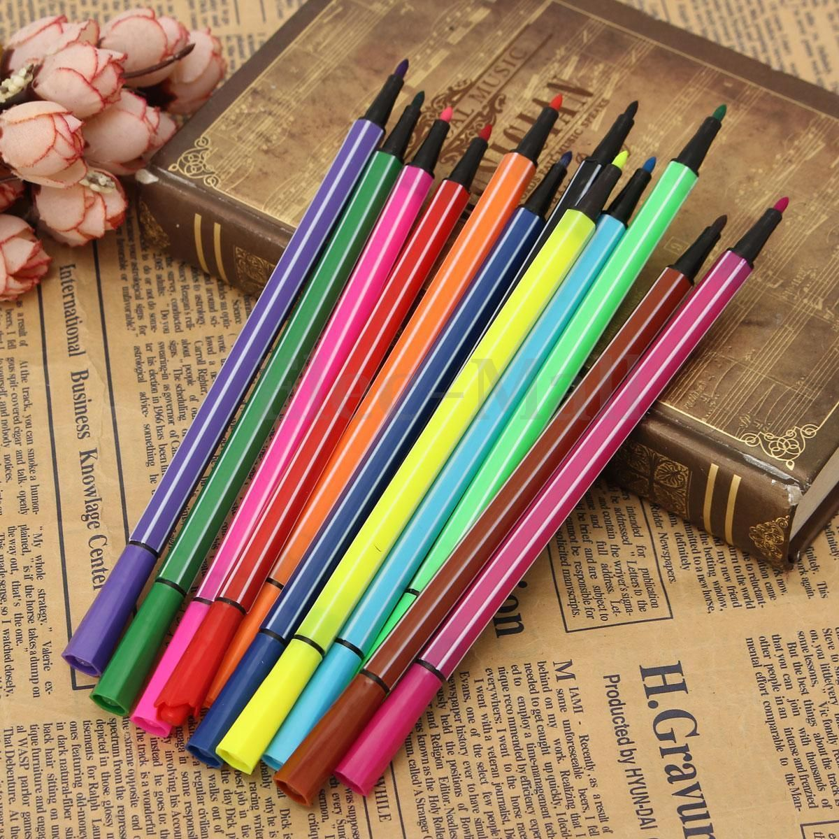 Color drawing pens for artists - 12 Colors Washable Water Color Drawing Pens Artists Paint Marker Student Child