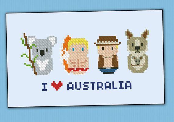 Australia icons - Mini people around the world - PDF cross stich ...