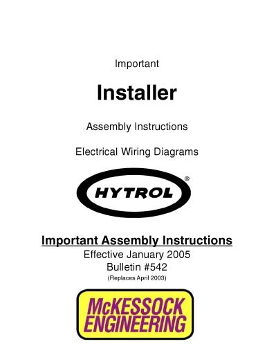 Installer Electrical Wiring Diagrams  Important Assembly