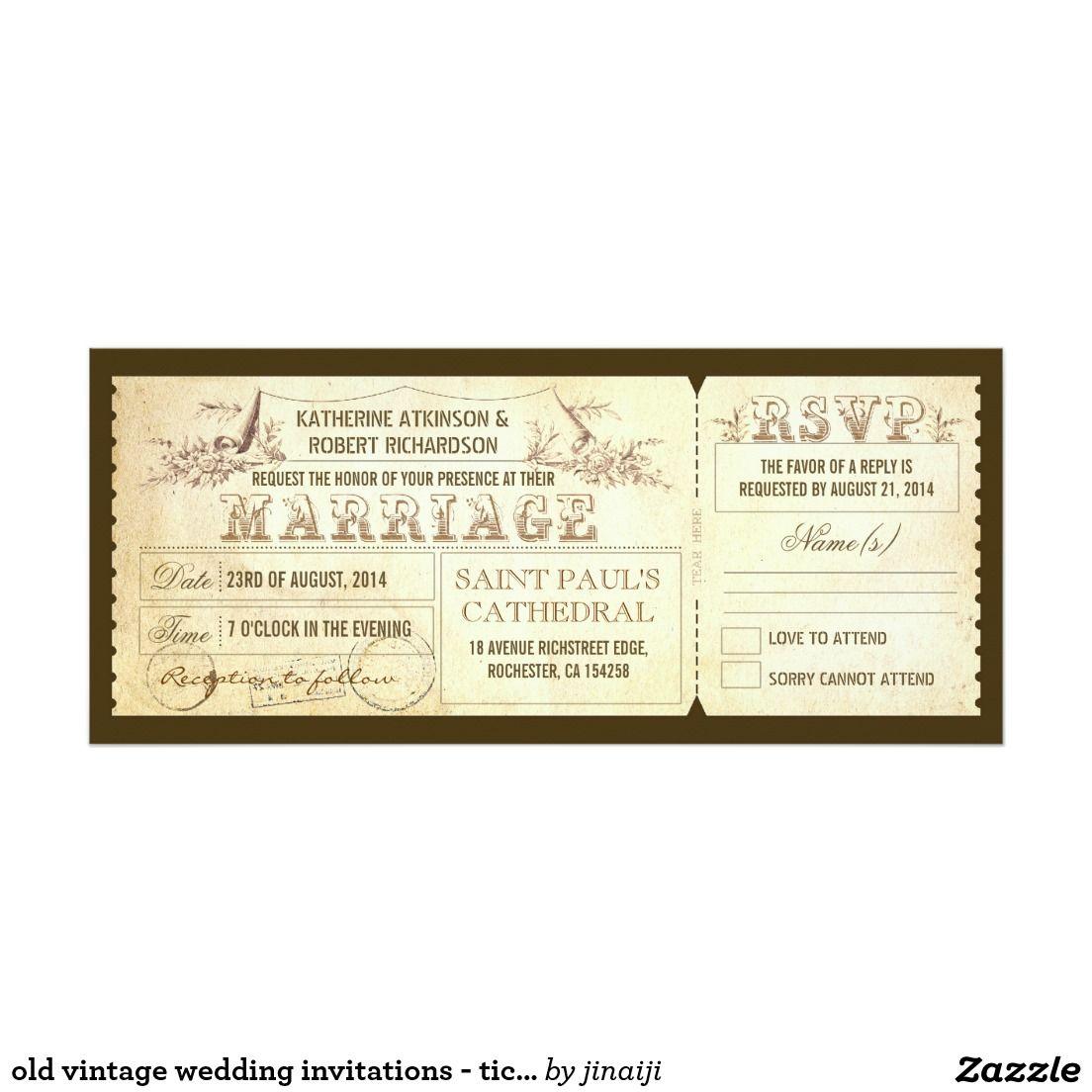 old vintage wedding invitations - tickets & RSVP | Vintage wedding ...