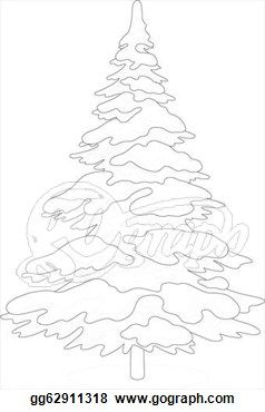 Vector Art Christmas Tree With Snow Contour Clipart Drawing Gg62911318 Christmas Tree With Snow Christmas Tree Drawing Christmas Tree Cards