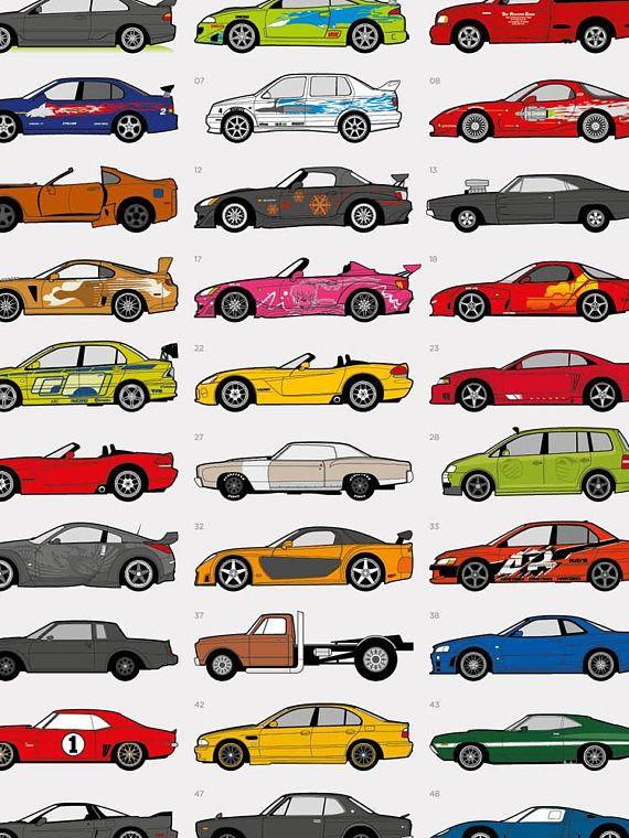 Coches De Fast And Furious Poster Ilustracion De Coches Cosas