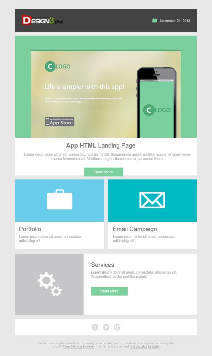 Free PSD Newsletter Template