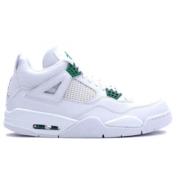 Discount Authentic 308497-101 Mens Nike Air Jordan 4 Retro White/Chrome-Classic Green