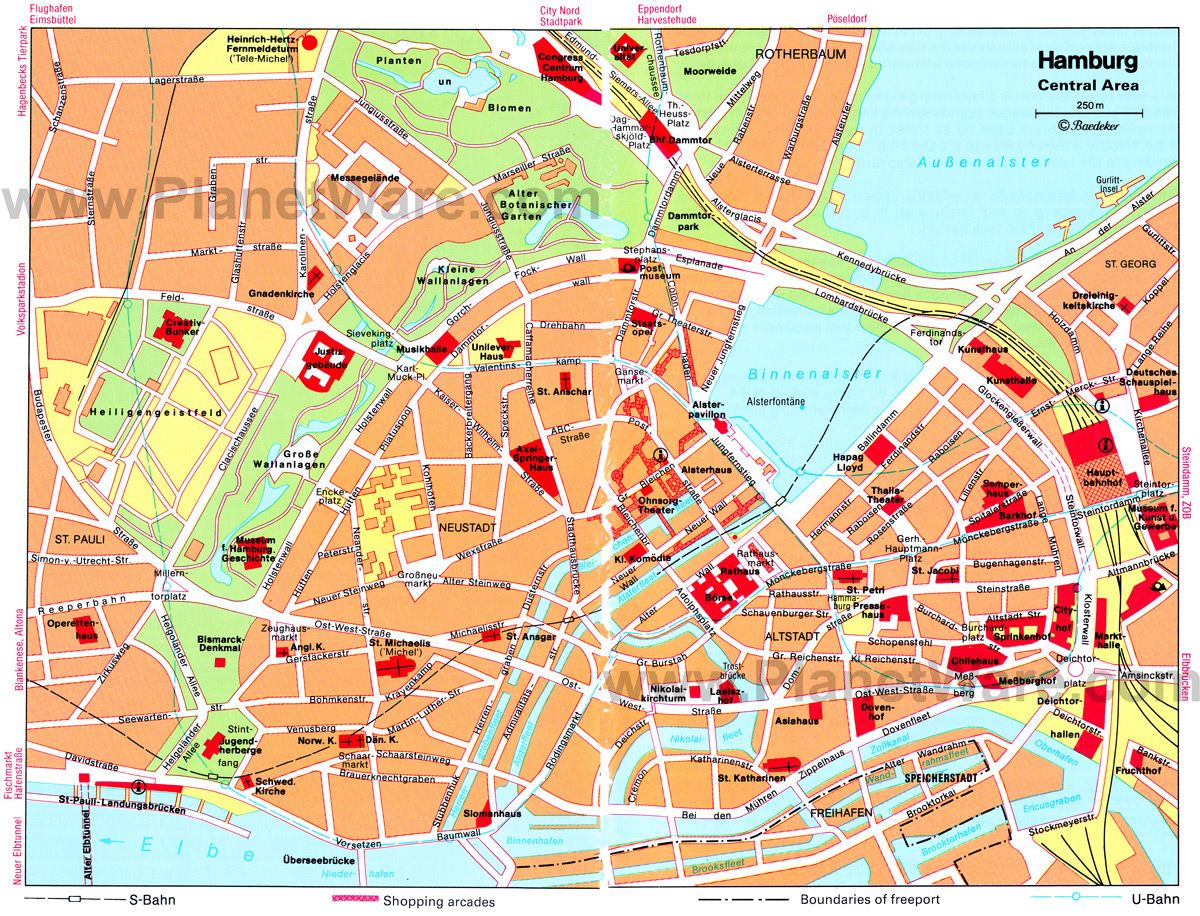 Hamburg Central Area Map Tourist Attractions Places - Berlin map of tourist attractions
