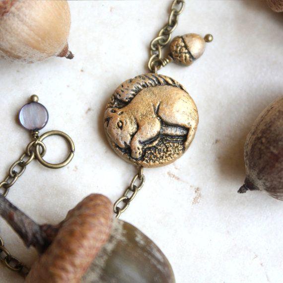 Squirrel Bracelet Acorn Charm Gold By Gwydionsgarden