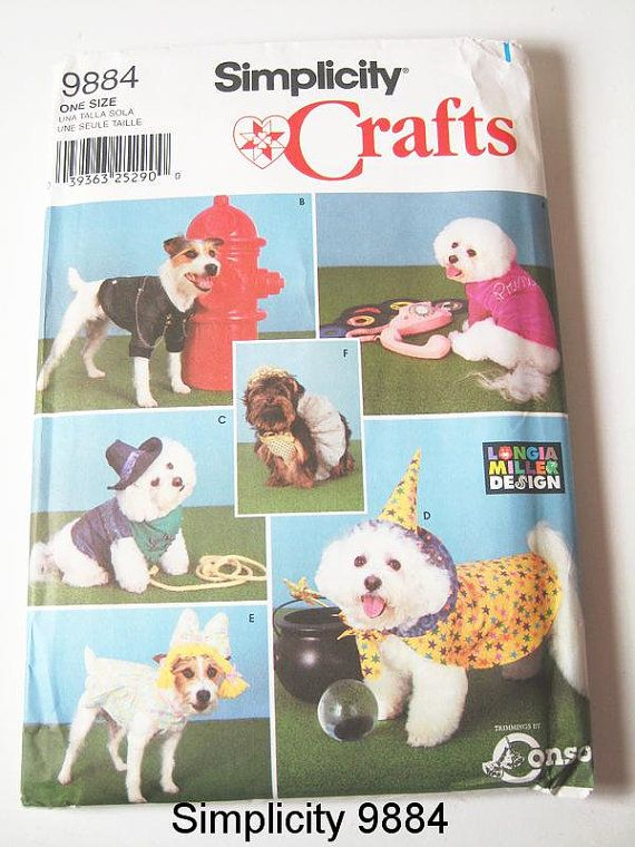Simplicity Dog Clothes Pattern 9884 - Dog Coats and Costumes - One ...