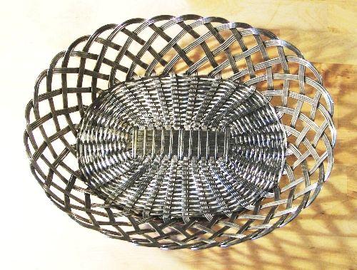 Handmade Copper Basket : A classically shaped bread basket handmade of woven