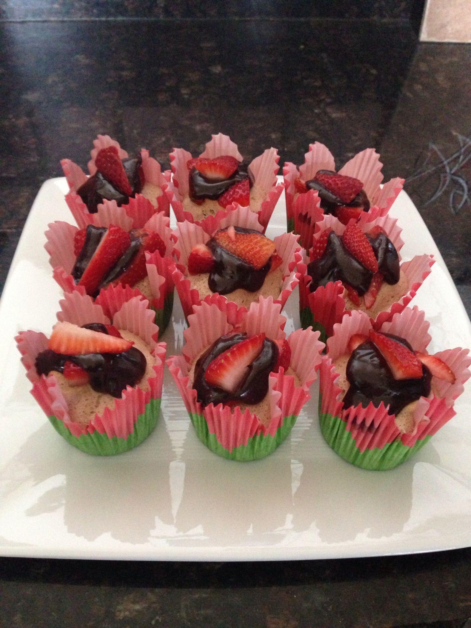 Strawberry chocolate angel cupcake
