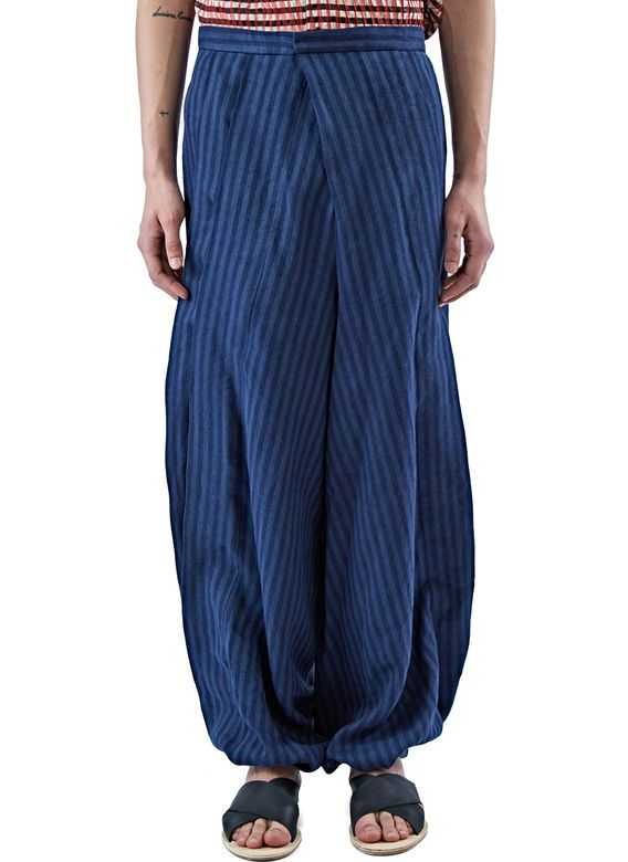 Men's Pants - Clothing | Shop Now at LN-CC - Striped Wide Pleated Balloon Pants