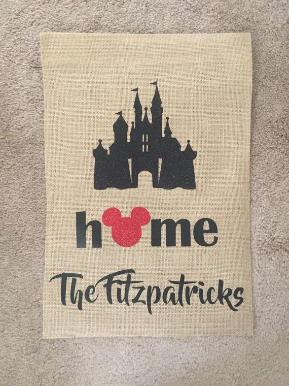 One-sided burlap garden flag • Includes the Disney castle, home ...