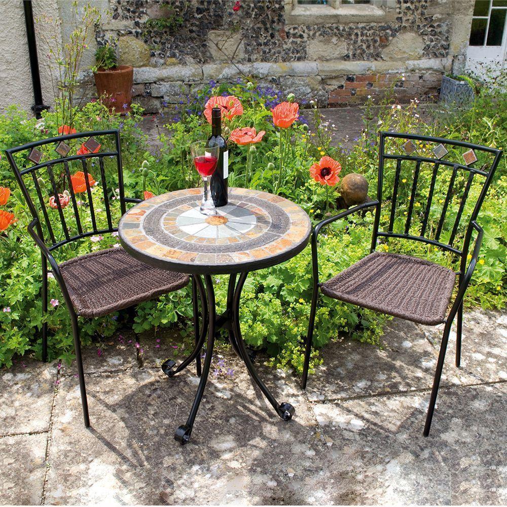 2 Seater Bistro Set Black Steel Frame Stone Mosaic Lawn Garden Patio  Furniture