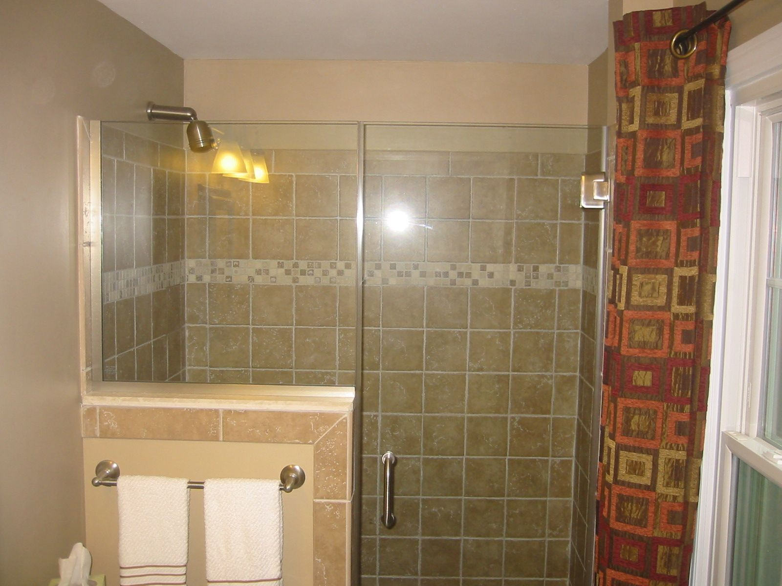 Shower Glass Door Half Wall Glass Tile Bathroom Renovations