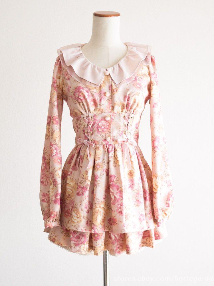 LIZ LISA Floral Gobelins Tapestry Pink Lace-up Dress SET Lolita ...