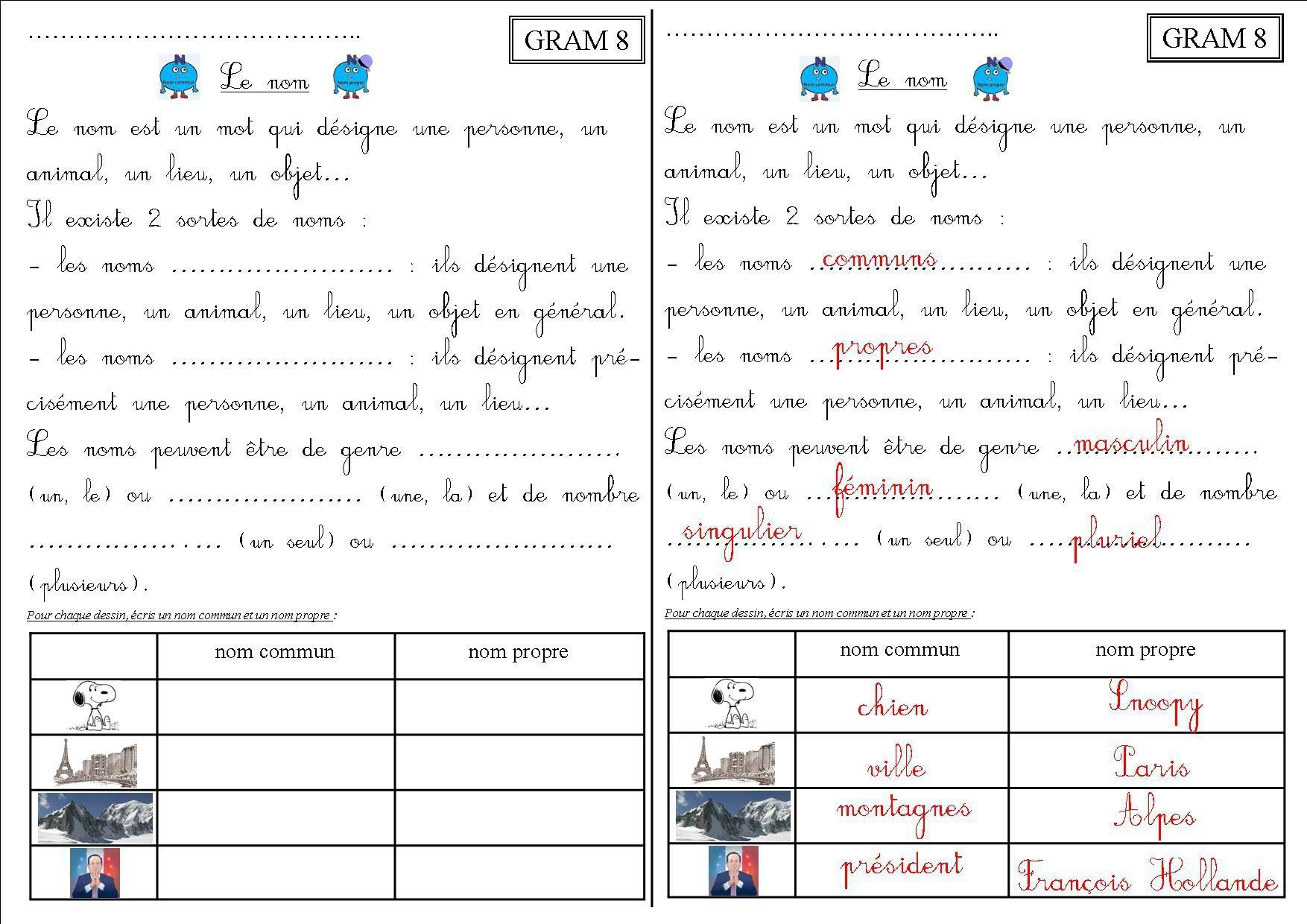 GRAM 8 CE2 : le nom - La classe des CE de Villebois | Ce1, Ce1 et Enseignement