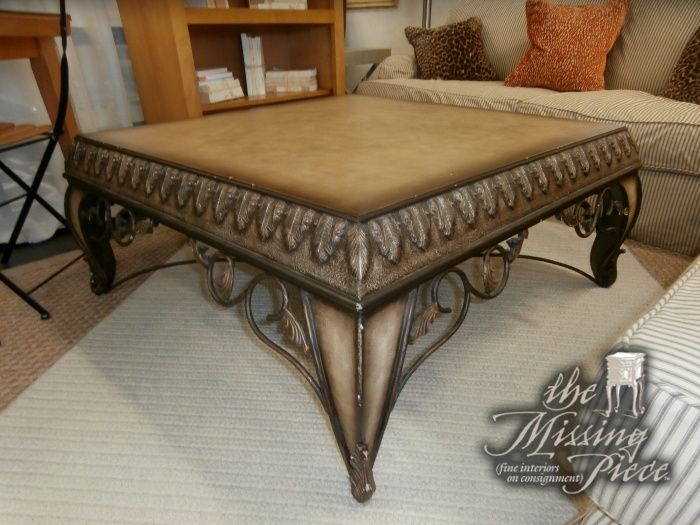 Nice Ornate Wood And Metal Coffee Table Measuring 42*42*19. Matching Accent Table