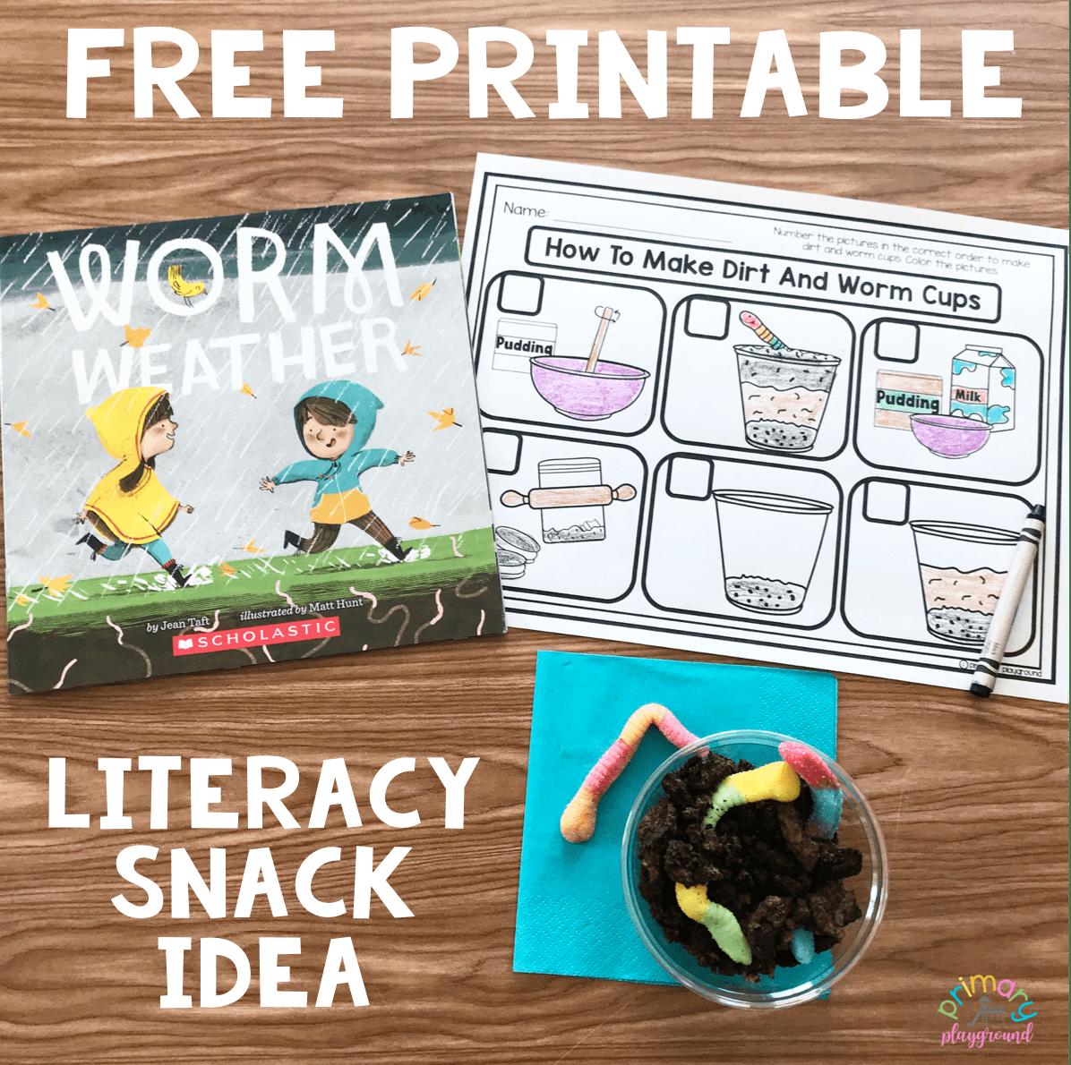 Literacy Snack Idea Worms Free Printable