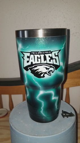 Custom Painted Eagles Tumbler 90 For Yeti 80 For Rtic Shipping 10 Zimmerdesignz Gmail Com Https Video Buf Yeti Cup Designs Custom Tumbler Cups Custom Cups