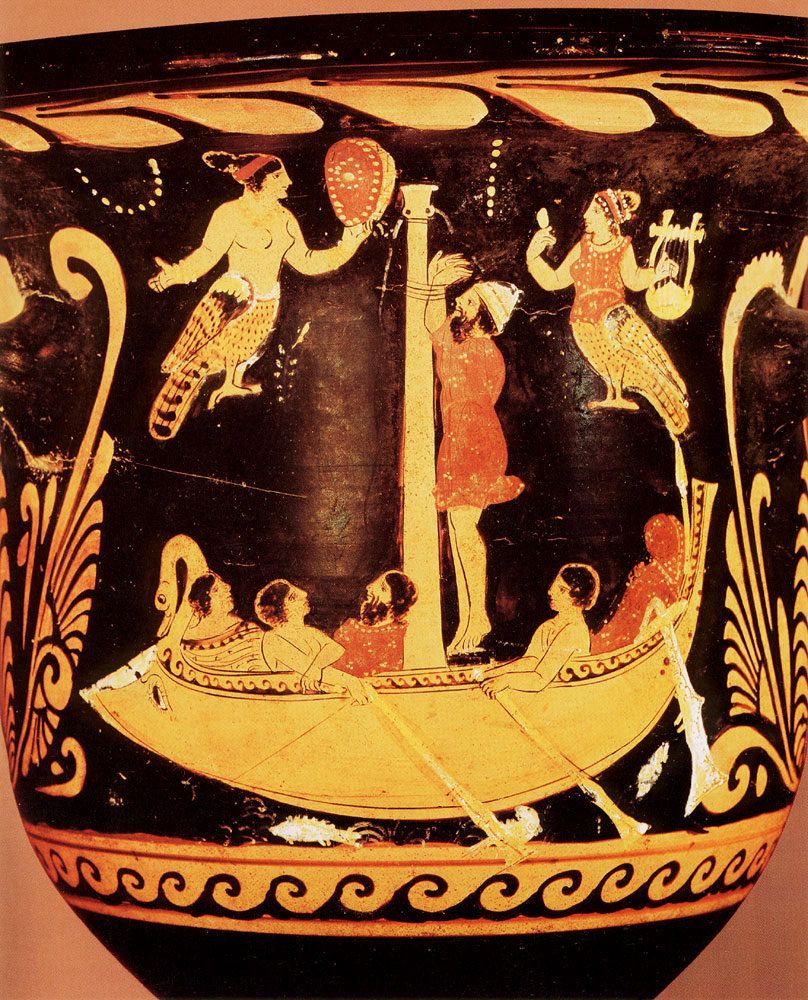 Image result for Odysseus & Sirens | Paestan red figure vase painting