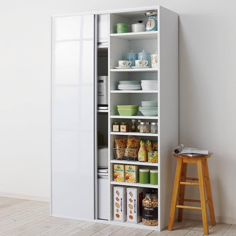 引き戸スライド扉で隠せる光沢仕上げキッチン家電収納庫 奥行45cm