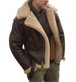 Tom Hardy Dunkrik Brown Leather Jacket Bomber Bane Aviator Fur Collar For Men